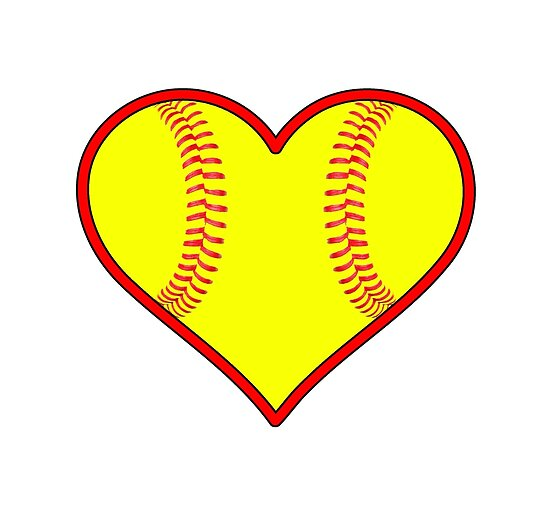 """Yellow Fastpitch Softball Heart"" Posters By"