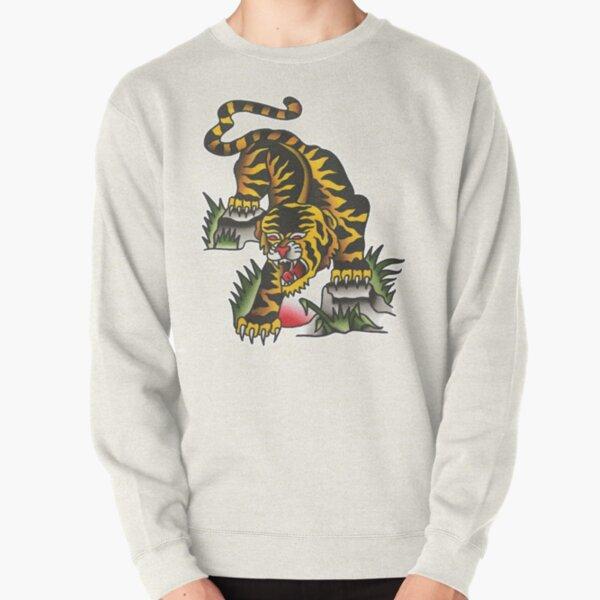Traditional Crawling Tiger Tattoo Design  Pullover Sweatshirt