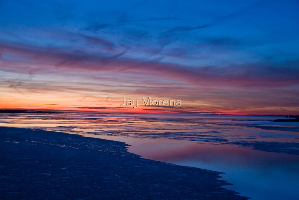 Painted Skies and Ice Sunset Long Island NY by Jay Morena