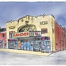 Old Movie Theater Urban Sketch by Judy Boyle