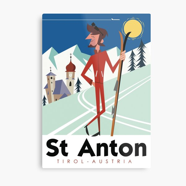 St Anton retro ski poster Metal Print