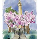 Urban Sketch of Spring at Mount Vernon Place by Judy Boyle