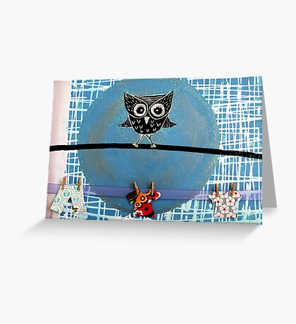 Mr Owl and the Laundry  Greeting Card