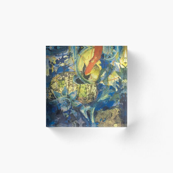 Collage painting art print - In the BLUE Acrylic Block