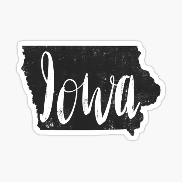 State of Iowa Calligraphy  Sticker