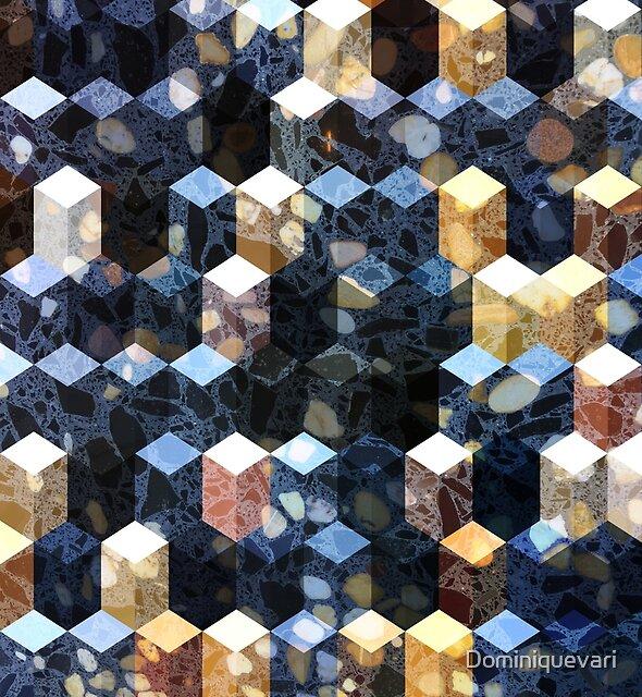 Art Deco Terrazzo Cube Pattern #abstractart #pattern by Dominiquevari