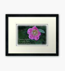 Pink and yellow hollyhock with quote Framed Print