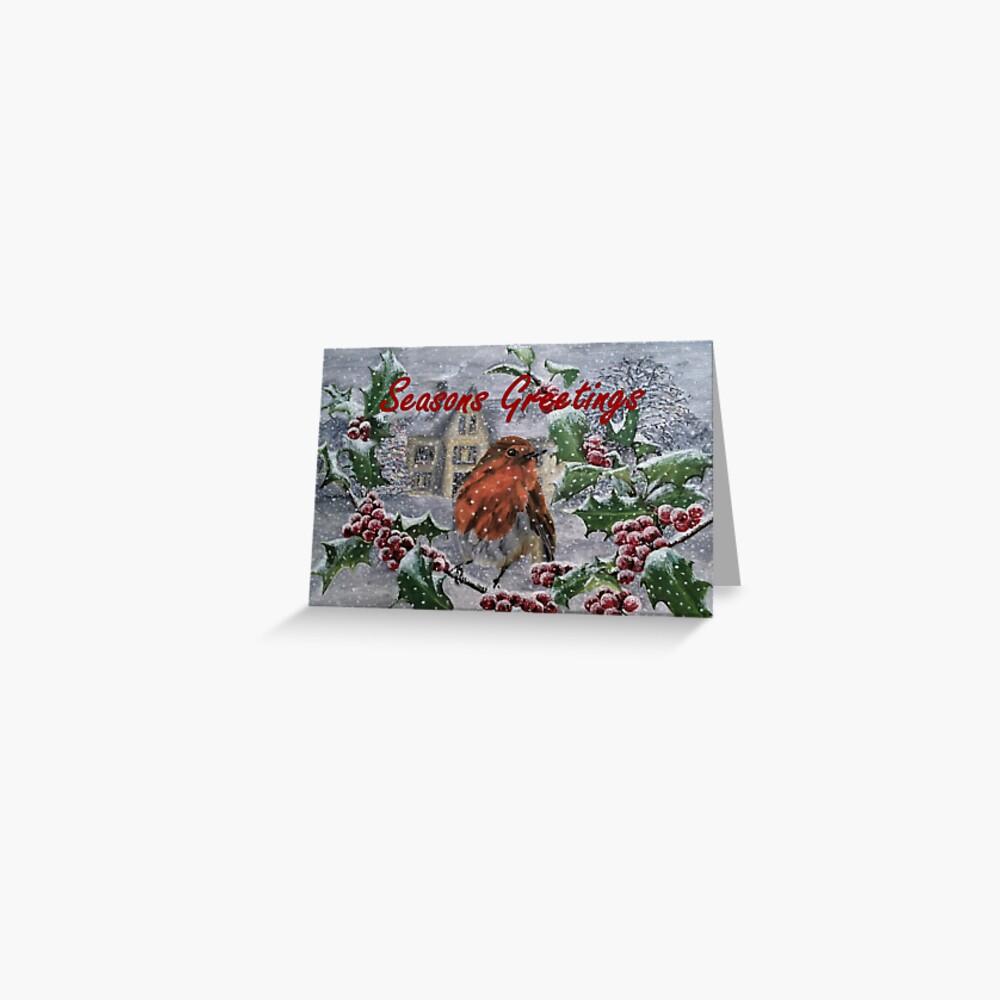 Seasons Greetings Robin Christmas Card Greeting Card