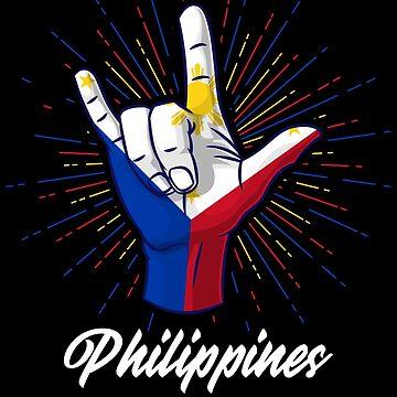 I Love You Philippines Hand Gesture Cute Gift Women Men by Teeleo