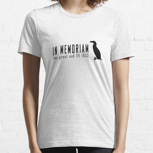 Extinct animals - Great auk In Memoriam black print Essential T-Shirt