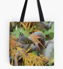 Tiny yellow and brown wren in Japanese Maple Tote Bag