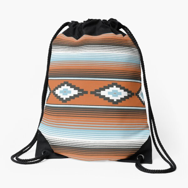 Modern Mexican Serape in Brown and Blue Drawstring Bag