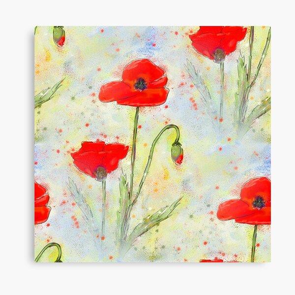 Poppy Meadow Floral Design Canvas Print