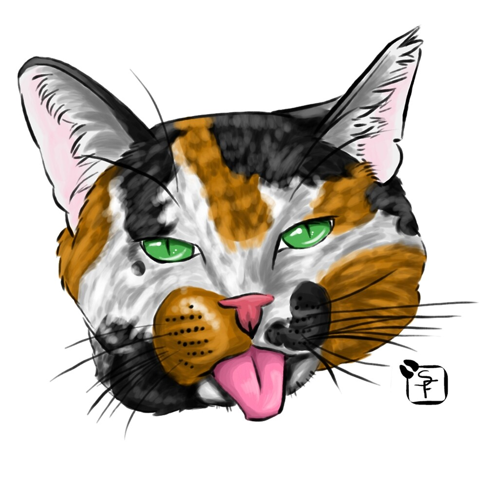 Calico Cat Face by SonneFaunArt