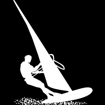 Silhouette of a sportsman doing windsurfing on his board with sail by MegaSitioDesign