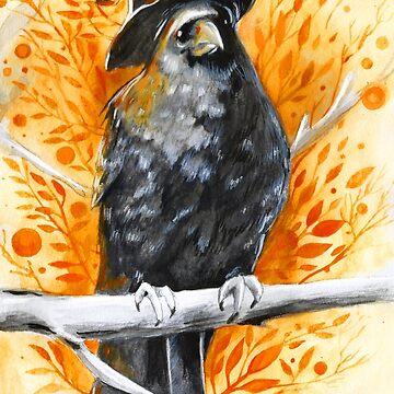 Halloween Witch Crow ( Inktober 10 ) by artbysavi