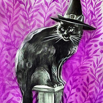 Halloween Witch Cat ( Inktober 12 ) by artbysavi