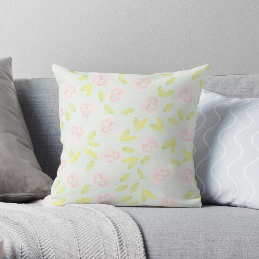 Pink Floral Toss Throw Pillow