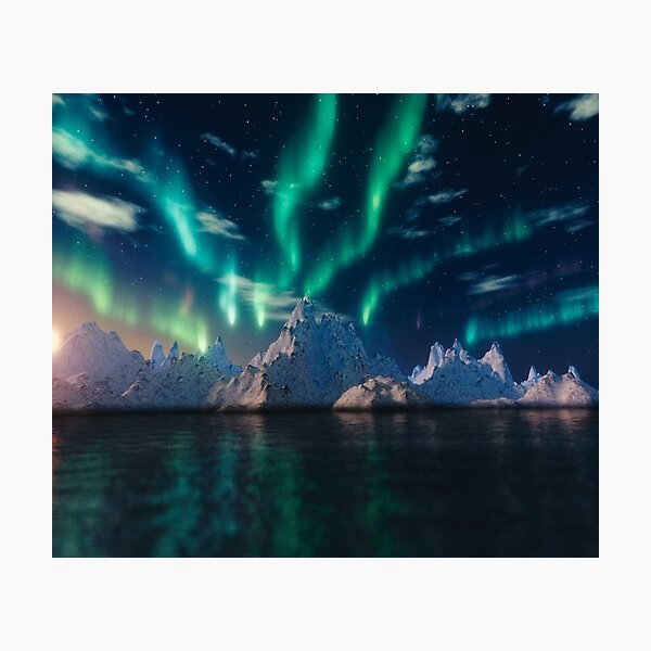 Northern Lights over Ice Caps - Aurora Borealis Photographic Print