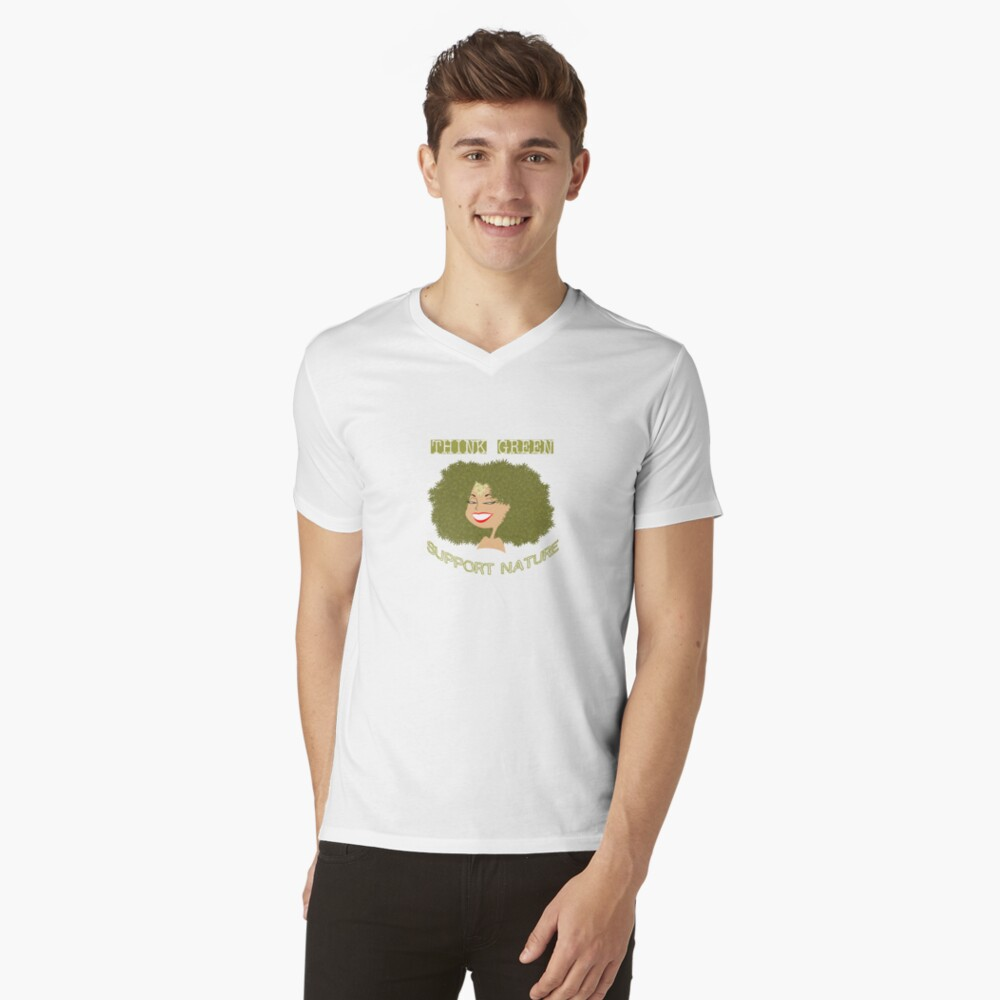 Think Green - Support Nature V-Neck T-Shirt