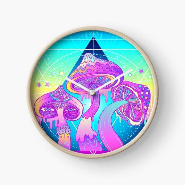 Magic Mushrooms over Sacred Geometry Clock
