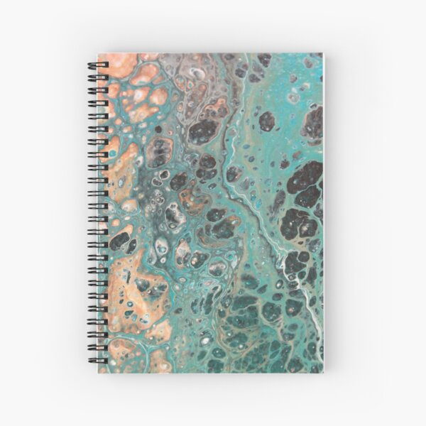 Fluid art - teal, black, white, orange flip cup Spiral Notebook