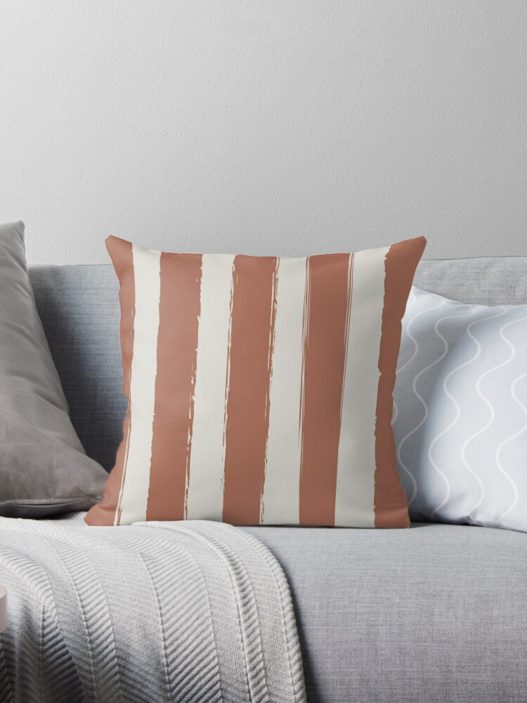 Rustic Brushed Stripes-Clay-Russet-Pale Cream by broadmeadow
