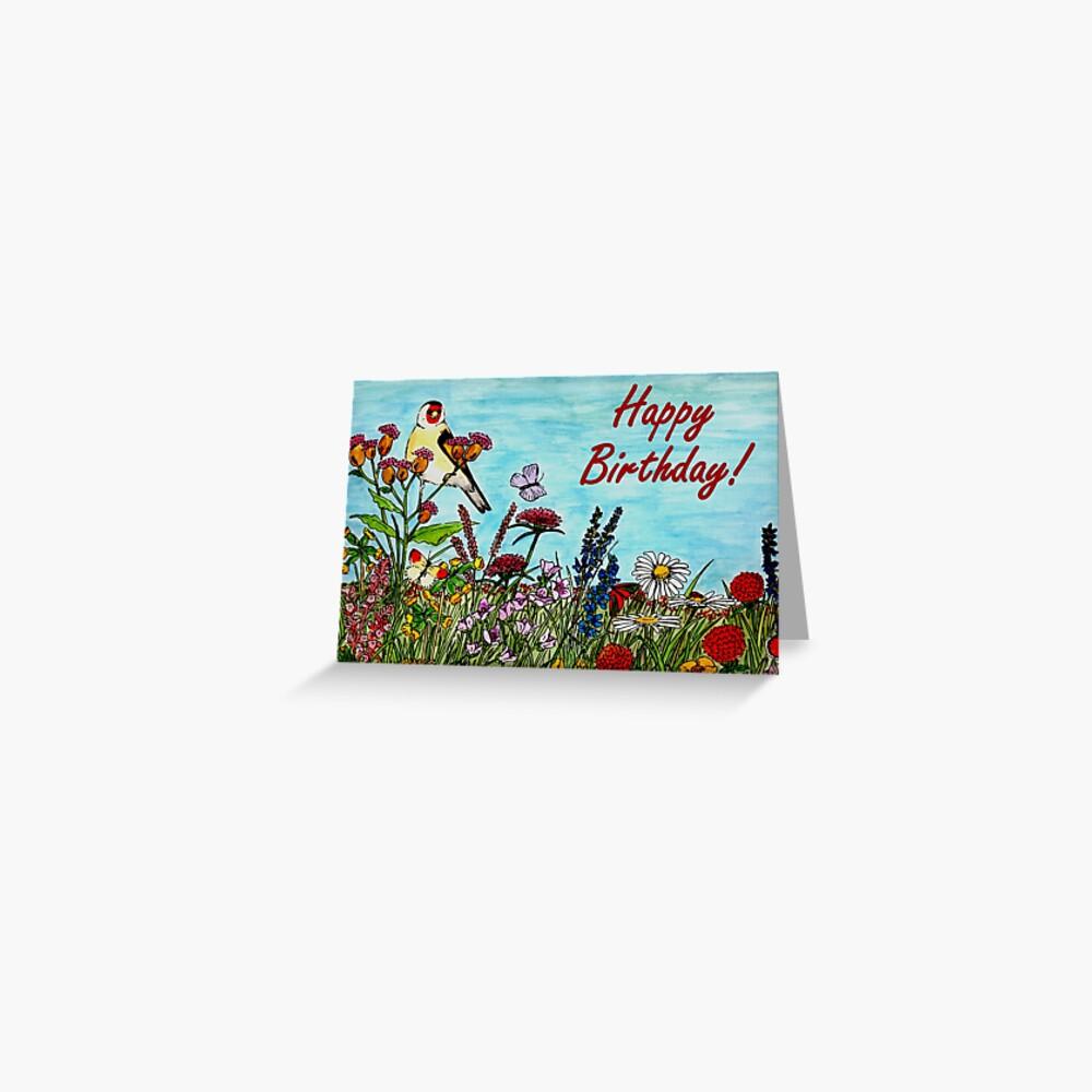 Birthday Greetings - Flower Meadow Greeting Card