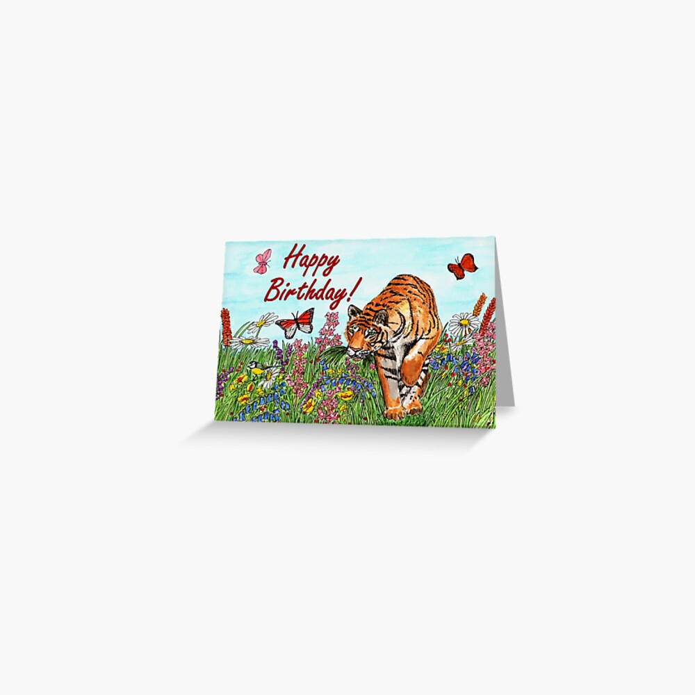 Birthday Card - Tiger in a Perfect World Greeting Card