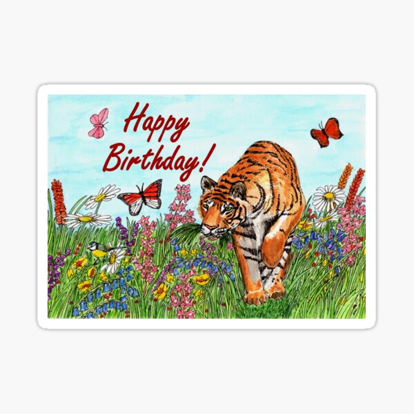 Birthday Card - Tiger in a Perfect World Sticker