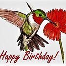 Humming Bird Birthday Card by EuniceWilkie