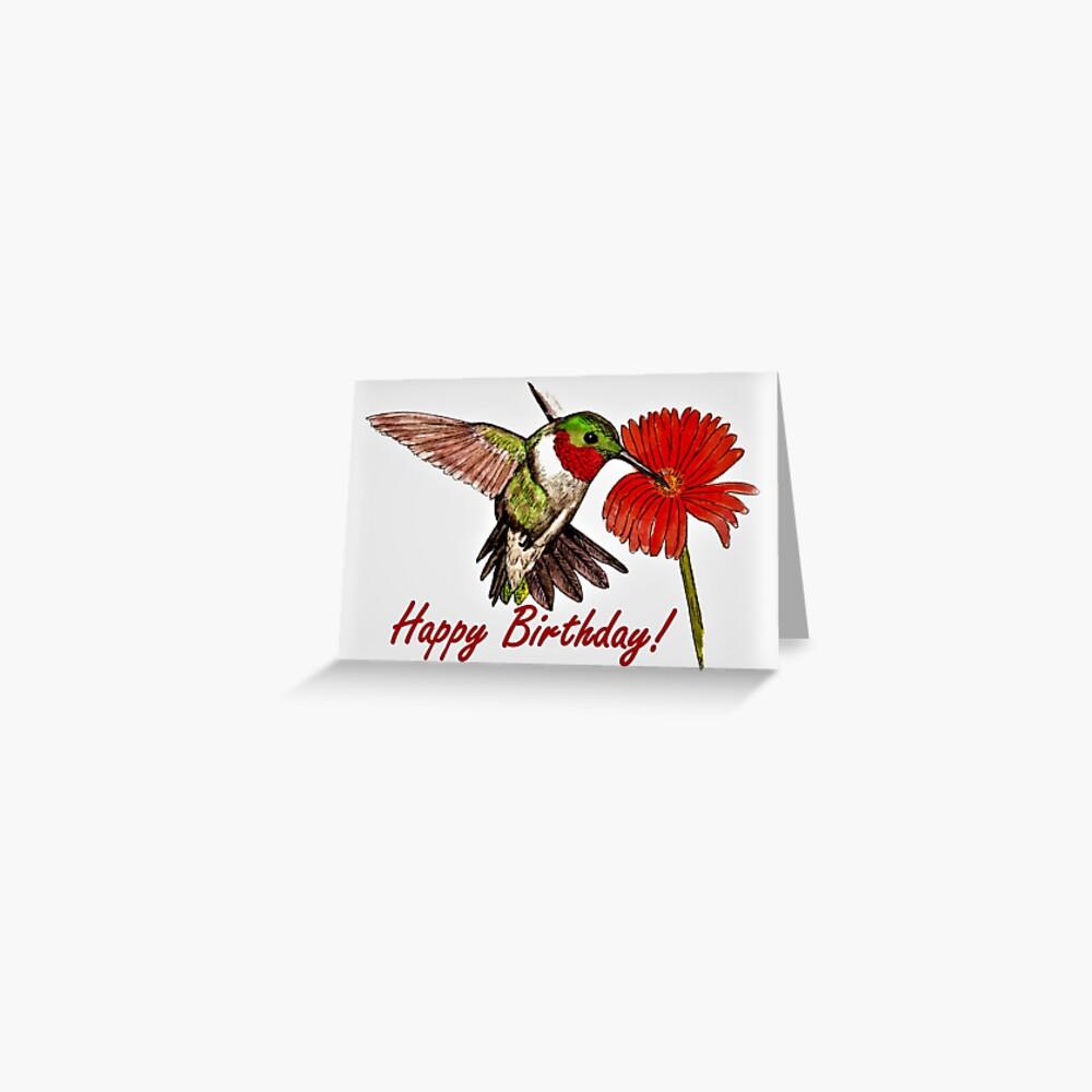 Humming Bird Birthday Card Greeting Card