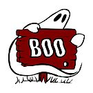 Halloween Ghost Is Wrapped Around A Sign That Says BOO by Marilyn Southmayd