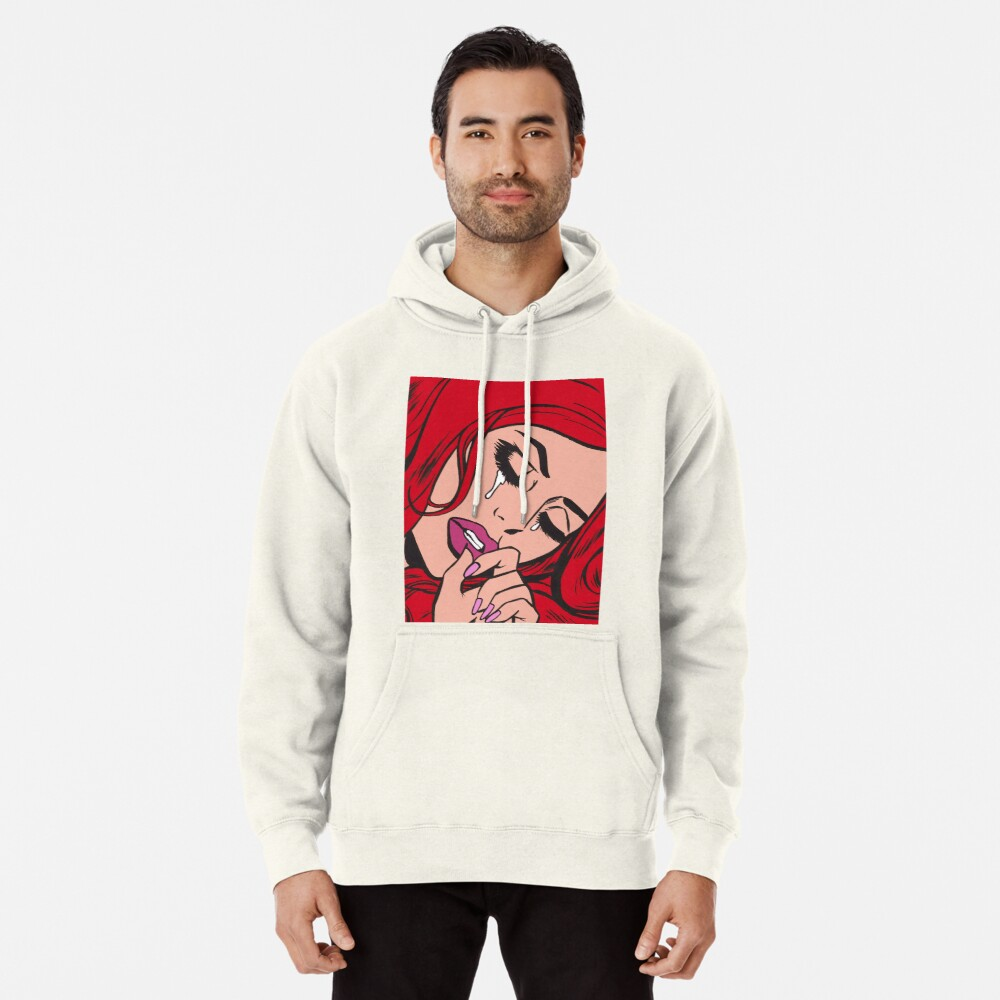 Red Hair Crying Comic Girl Pullover Hoodie