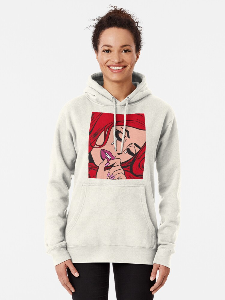 Alternate view of Red Hair Crying Comic Girl Pullover Hoodie