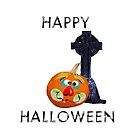 Happy Halloween With Pumpkin Jack-O-Lantern And Gravestone by Marilyn Southmayd