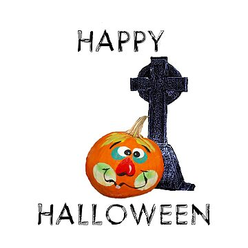 Happy Halloween With Pumpkin Jack-O-Lantern And Gravestone by GrandmaMarilyn