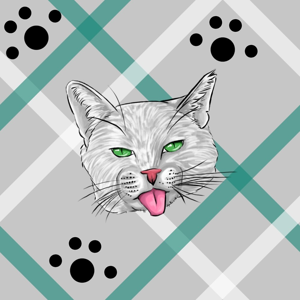 White Cat Face Plaid by SonneFaunArt