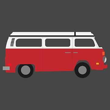 Flat Design - Red Camper Old Timer - Gift Idea by vicoli-shirts
