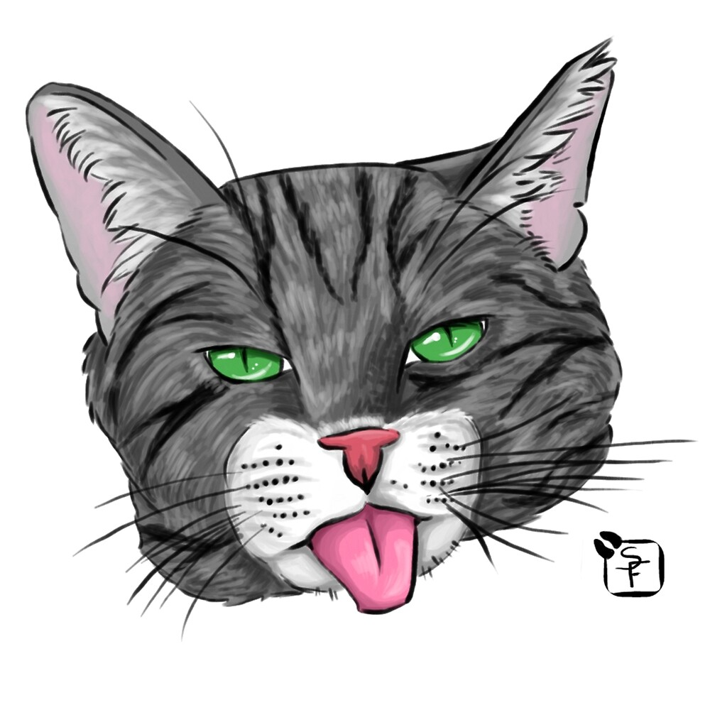 Grey Tabby Cat Face by SonneFaunArt