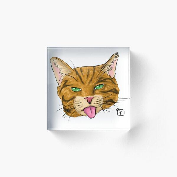 Orange Tabby Cat Face Acrylic Block