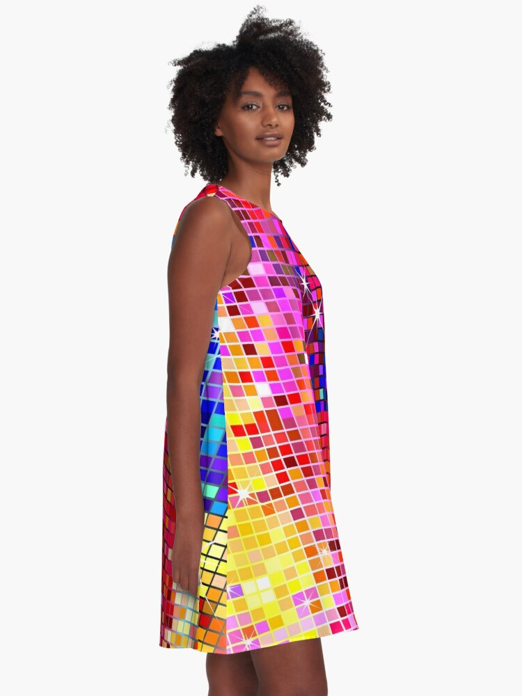 Alternate view of Metallic Colorful Sequins Look-Disco Ball Image GlitterPattern  A-Line Dress