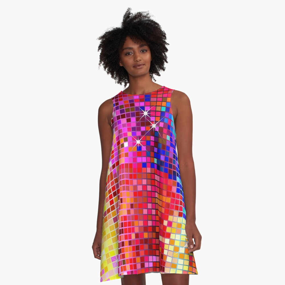 Metallic Colorful Sequins Look-Disco Ball Image GlitterPattern  A-Line Dress