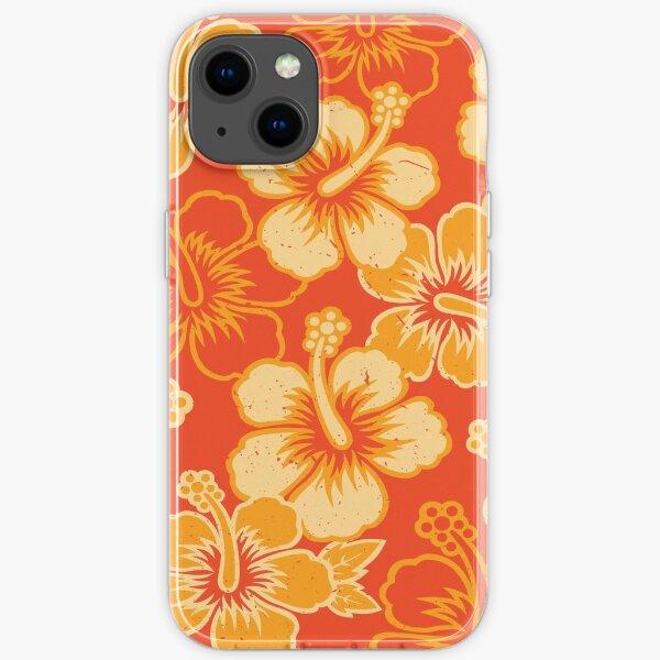 Vintage Hawaiian Orange Hibiscus Flower Pattern iPhone Soft Case