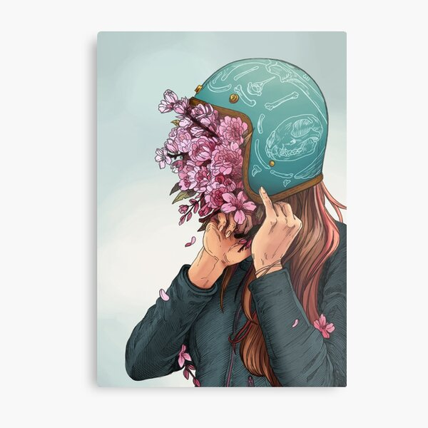 A Head full of Daisies and Daydreams - Women Who Ride Metal Print