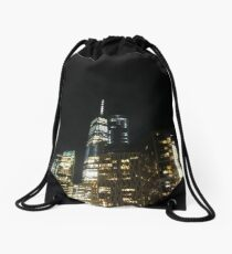#architecture #city #skyscraper #tower #cityscape #sky #dusk #business #tallest #modern #office #hotel #dark #colorimage #copyspace #builtstructure #downtowndistrict #urbanskyline #nopeople #light Drawstring Bag