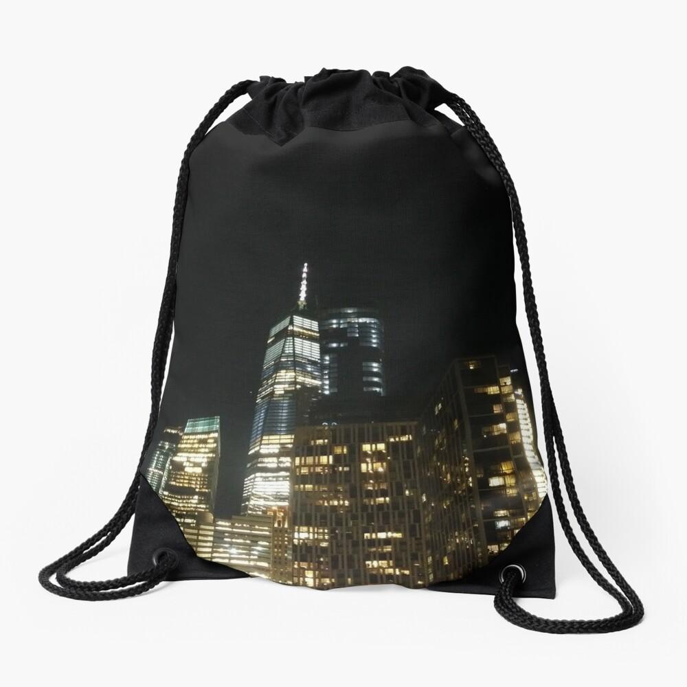 #architecture #city #skyscraper #tower #cityscape #sky #dusk #business #tallest #modern #office #hotel #dark #colorimage #copyspace #builtstructure #downtowndistrict #urbanskyline #nopeople #light Drawstring Bag