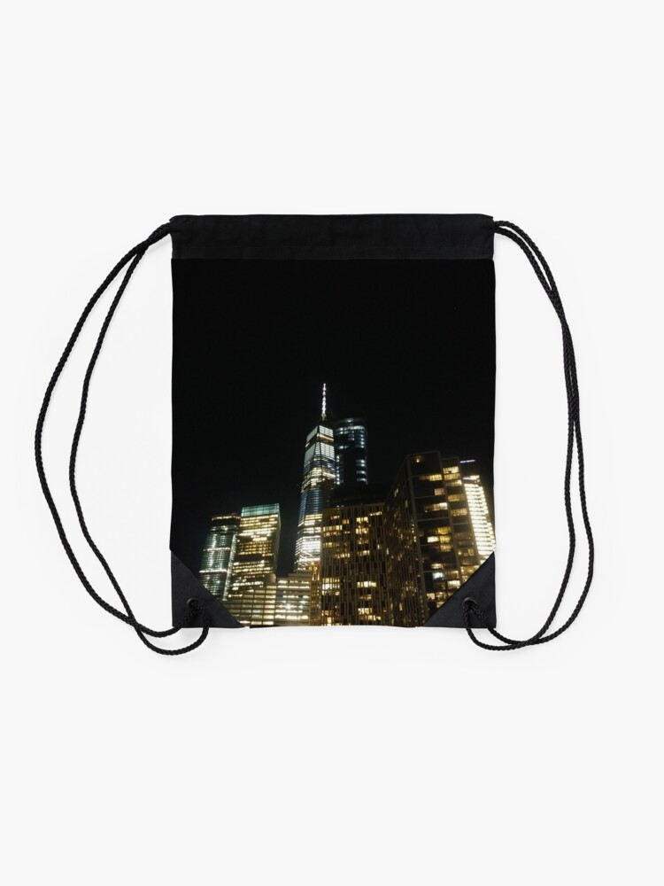 Alternate view of #architecture #city #skyscraper #tower #cityscape #sky #dusk #business #tallest #modern #office #hotel #dark #colorimage #copyspace #builtstructure #downtowndistrict #urbanskyline #nopeople #light Drawstring Bag