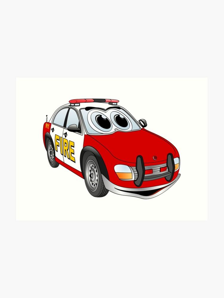 Fire Department Car Cartoon Art Print By Graphxpro Redbubble