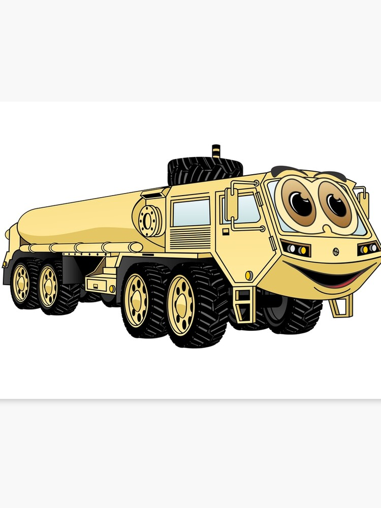 Military Tanker Truck Cartoon Sand   Canvas Print